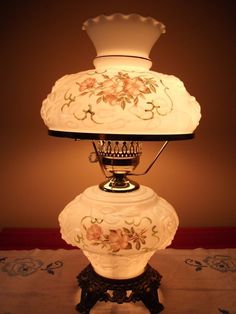 Fenton Milk Glass Puffy Roses Painted Lamp Gone with The Wind Hurricane Parlor | eBay