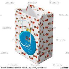Blue Christmas Bauble with Santa's & Sleigh Medium Gift Bag