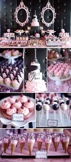 This idea could work for a baby girl shower or a baby girls birthday party. Paris theme is adorable and the dessert table looks great. Idee Baby Shower, Girl Shower, Baby Shower Sweets, Candy Table, Candy Buffet, Lolly Buffet, Dessert Buffet, Dessert Bars, Dessert Tables