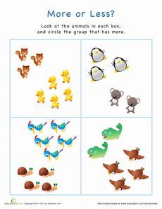 ... more/less/same on Pinterest | Kindergarten math, Worksheets and Math