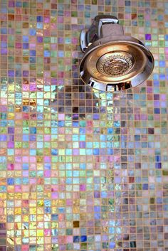 Bisazza Iridescent bathroom tile. Waking up in the morning and showering with these beautiful tiles would make my day!