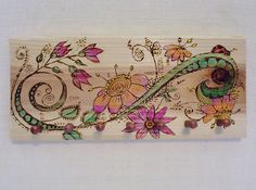 key peg jewelry rack wood burning pyrography flowers and vines 12x6 inches 7 copper color wood pegs dbl wall hangers reclaimed cedar wood by constersue on Etsy