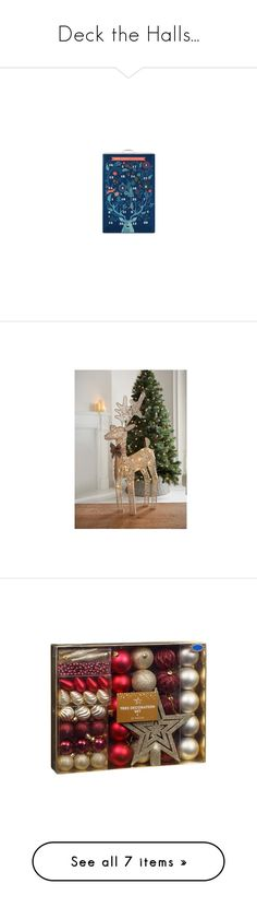 """""""Deck the Halls..."""" by zaiee on Polyvore featuring home, home decor, holiday decorations, mini bottles, red home accessories, red bottle, red home decor, miniature bottles, gold home accessories and gold home decor"""