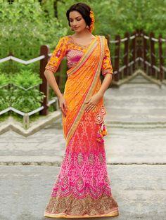 Orange And Pink Net Lehenga Saree With Resham And Stone Work #Wedding #Saree