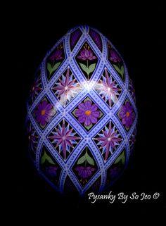 Purple Diamonds Ukrainian Easter Egg Pysanky By So Jeo