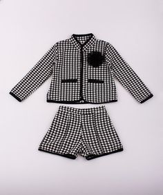 Love this Black & White Tweed Jacket & Shorts - Toddler & Girls by Mia Belle Baby on #zulily! #zulilyfinds