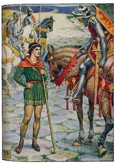 """""""YOUNG PERCEVAL QUESTIONS SIR OWEN"""" King Arthur's Knights, by Henry Gilbert, Illustrated by Walter Crane"""