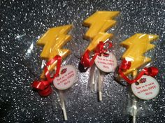 Super Hero party favors with personalized tags