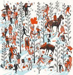 Oh Canada - Editorial Illustration by Josh Cochran Work Inspiration, Graphic Design Inspiration, School Of Visual Arts, Canada, Illustration Sketches, Modern Graphic Design, Art Plastique, Design Art, Deck Design