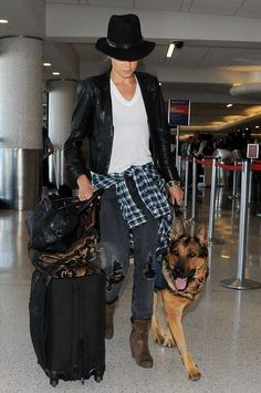 Nikki Reed seen at LAX with her German Shepherd