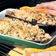 Baked Stuffed Eggplant. Read the full recipe at http://www.vegetablegardener.com/item/5331/baked-stuffed-eggplant#