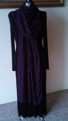 """SuZQ's Super Scarf! * Purple Stretch Lace * 28"""" X 92"""" * Long Scarf, Shawl or Cover-up*"""