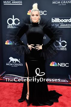 #BebeRexha #BlackDresses #LongSleeve #FormalDress #2018Billboard Music Awards - TheCelebrityDresses