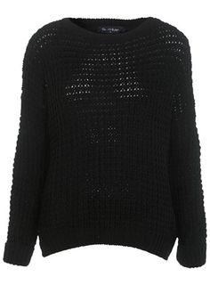 Black Longerline Waffle Jumper - Knitwear  - Apparel