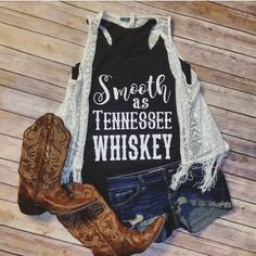 Smooth as Tennessee Whiskey * Tri-blend Racerback Tank Shirt  Vintage black tank with white lettering. Rock one of our hottest styles, the tri-blend racerback tank, and get ready for the supreme softness - and attention - that comes with it.    50% polyester/25% ring-spun combed cotton/25% rayon • 4.3-oz. • 32 singles for extreme softness • satin label • Sizes Available: XS-XL Thank you so much for visiting Jesus and Gypsy Soul