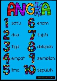 Super simple ANGKA number poster chart in Indonesian (bahasa Indonesia) . Kindergarten Math Worksheets, Number Worksheets, Preschool Math, School Worksheets, Glenn Doman, Malay Language, Indonesian Language, Number Chart, Bali