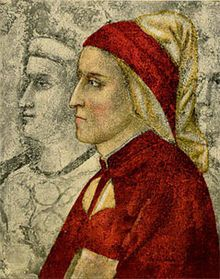 Dante Alighieri, attributed to Giotto, in the chapel of the Bargello palace in Florence. This oldest picture of Dante was painted just prior to his exile and has since been heavily restored.