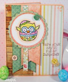 Easter card with owl and egg created with Darcie's Heart and Home clear stamps and tin pin embellishments!   Studio: Easter's On It's Way!