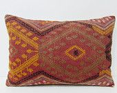 16x24 kelim kilim pillow coral throw pillow yellow decorative pillow extra large pillow indie fabric hippie pillow case coral pillows 27459