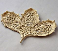 Crochet Applique Irish Lace Motif Budding Lily by Nothingbutstring, $8.00