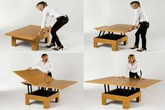 New York based company Resource Furniture offers variety of really good space saving furniture designs. The products from Resource Furniture offer high Build A Coffee Table, Coffee Table To Dining Table, Extendable Coffee Table, Make A Table, Diy Table, Table And Chairs, Coffee Tables, Coffee Table That Raises Up, Kitchen Tables