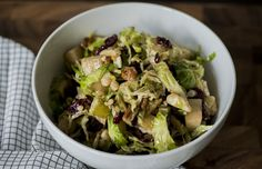 Crunch Brussels Sprouts Salad (pear, fried onions, dried cranberries, bleu cheese and a special dressing too)