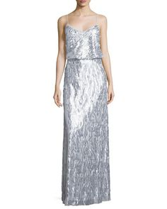 f3f26993de Courtney+Spaghetti+Strap+Sequined+Gown++by+Donna+Morgan