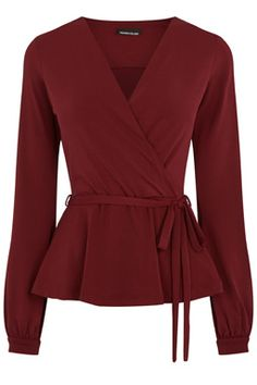 Buy Raspberry Warehouse Crepe Long Sleeve Wrap Top from our Women's Shirts & Tops range at John Lewis & Partners. Casual Tops For Women, Blouses For Women, Blouse Styles, Blouse Designs, Casual Dresses, Fashion Dresses, Long Sleeve Wrap Top, Hijab Style, Donia