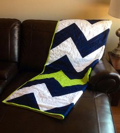 Lime green and navy chevron zig zag quilt.  Great for college and dorm room.