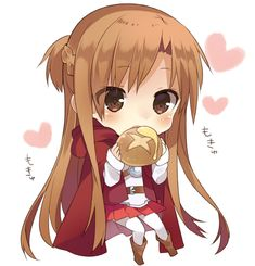 Asuna eating bread - Sword Art Online
