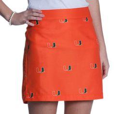 Miami Hurricanes Women's Ovation Allover Print Game Changer Zip Mini Skirt - Orange - $54.99