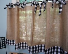 Burlap and Gingham Cafe Curtains- would like to see it in red check gingham
