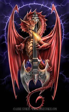 Power Chord Posters by Anne Stokes dragon fantasy art Anne Stokes, Power Chord, Magical Creatures, Fantasy Creatures, Fantasy Kunst, Fantasy Art, Photo Dragon, Fantasy Wesen, Arte Ninja