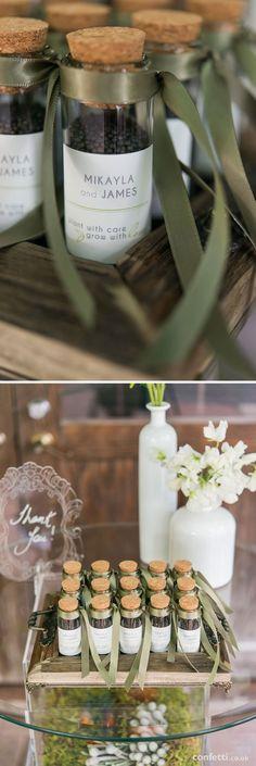 Woodland themed wedding favours | Personalised mini glass jars wedding favour | Confetti.co.uk