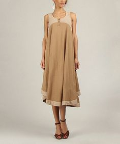"This Mocha & Brown Button Placket Midi Dress by Tera Bora is perfect! #zulilyfinds 88% cotton / 12% linen 41"" long"