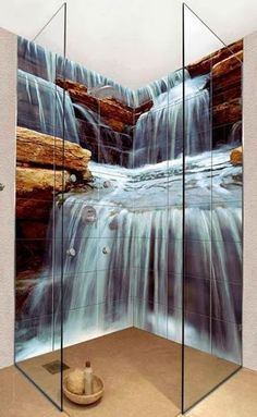 For A Small Corner Shower, The Waterfall Mural There Makes It