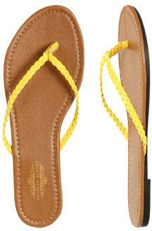 ShopStyle: WetSeal Brandy Braided Flip Flop Neon Yellow