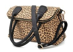 Office Women's Shoulder Bag With Leopard Print and Double-Handle Design