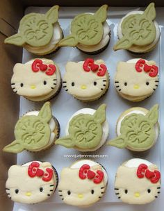 Hello Kitty and Yoda cookie cupcakes for a bake sale or just perfect for my husband and I.
