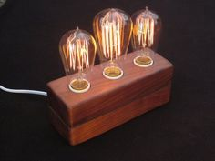 How to: Make a Wooden Vintage Bulb Lamp | Man Made DIY | Crafts for Men | Keywords: decor, DIY, lamp, lighting
