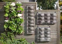 "Vertical ""pocket"" garden    @Stephanie Close Abrams can you make me some pockets???"