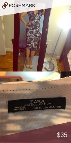 Zara blue and white sleek bodycon dress sleek neoprene like material; hugs the body; navy white pattern Zara Dresses Midi