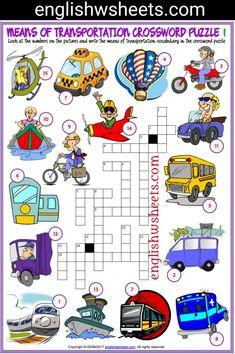 Means of Transportation Esl Printable Crossword Puzzle Worksheets For Kids #means #Transportation #transports #Esl #Printable #Crossword #Puzzle #Worksheets #language #arts #languagearts