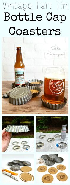 DIY Oversized Bottle Cap Coasters for Beer Lover or Father's Day Gift using Repurposed and Upcycled Vintage Fluted Tart Tins by Sadie Seasongoods / www.sadieseasongoods.com