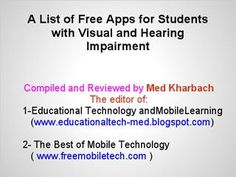 Free Apps for Students with Visual and Hearing Impairments