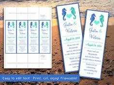 photo booth insert place card template beach wedding favor