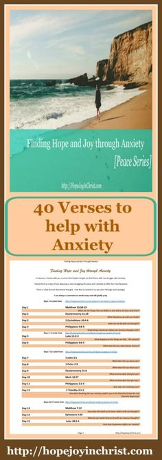 40 Verses to Help with Anxiety [Finding Hope and Joy Through Anxiety- Peace Series]