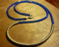 Sapphire Blue Seed Bead & Silver Necklace  Blue and by CeddyJ, $30.00
