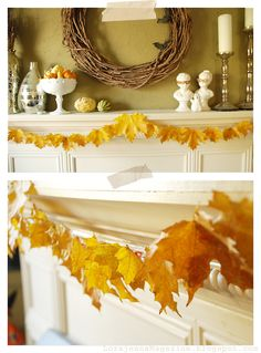 For a while I have been wishing I had a garland of some kind to hang on the mantle. I thought of making one out of paper or fabric but I wa...