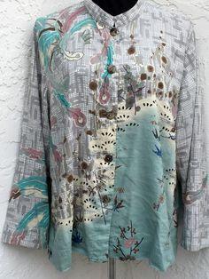 Citron Santa Monica plus size 2X silk linen blend beige floral button down top  #CitronSantaMonica #ButtonDownShirt #Casual